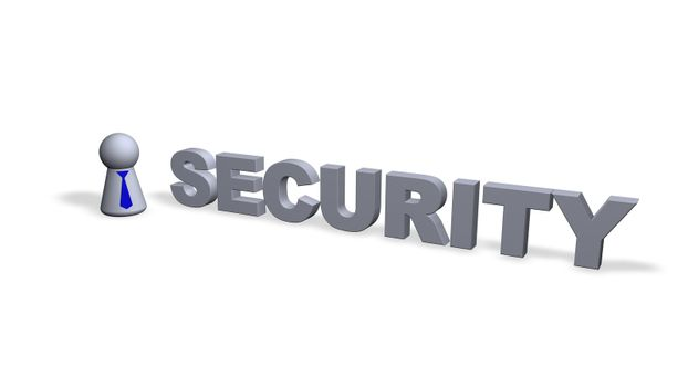 security text in 3d and play figure with blue tie