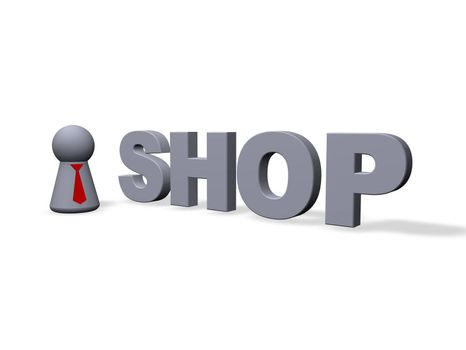 shop text in 3d and play figure with red tie
