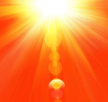 Hot summer rays of the sun