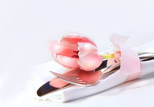 Table decoration with tulip