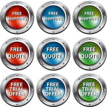 Free Chrome Rivet Buttons