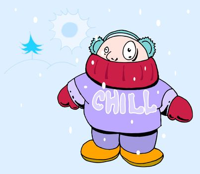 A person is cold from the weather.