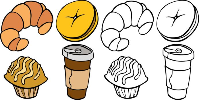 Cartoon image of different breakfast food items - both color and black / white versions.