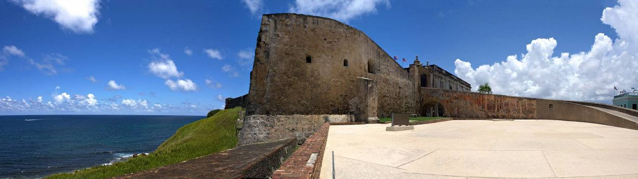 A wide angle panoramic view of the historic San Cristobal fortification located in Old San Juan Puerto Rico.