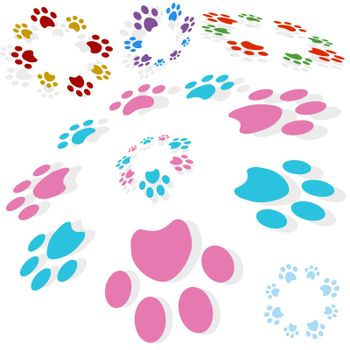 Paw print circle isolated on a white background.