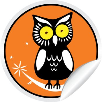 Owl perched on branch on orange sticker with curl.