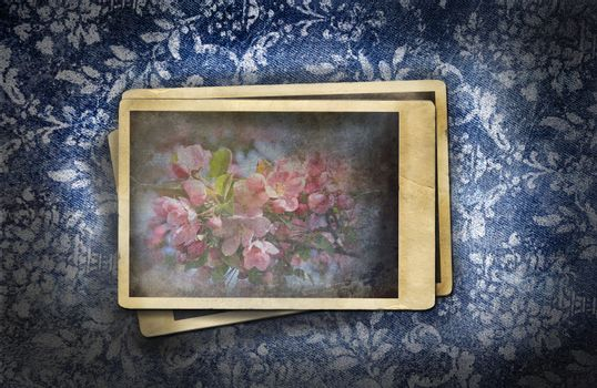 Grungy faded denim effect with old vintage photos
