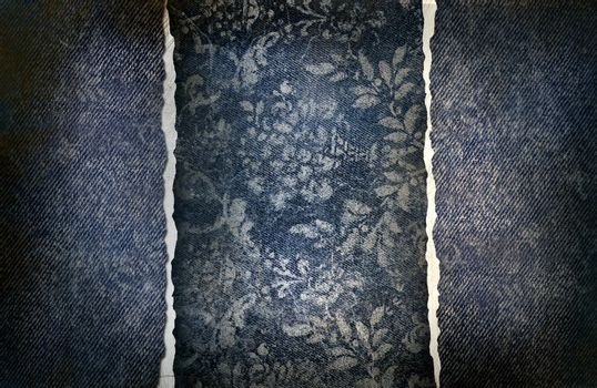 Grungy denim with faded floral effect