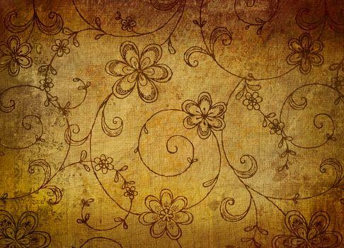 Vintage floral paper with grunge effect