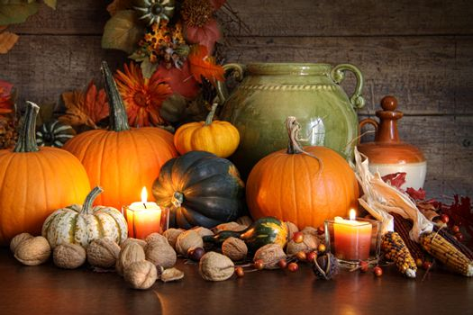 Festive autumn variety of gourds and pumpkins
