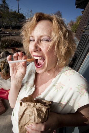 Smoking woman on her porch