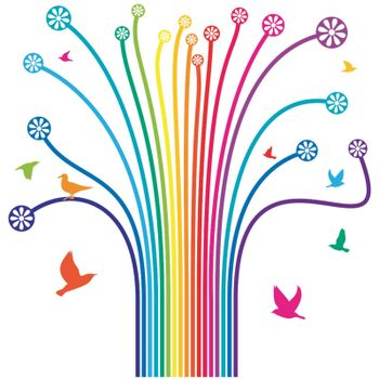 Abstract vector illustration with colored  lines and birds