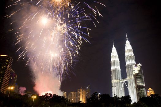 Image of fireworks display to usher in the 2009 New Year at Kuala Lumpur City Centre, Malaysia.
