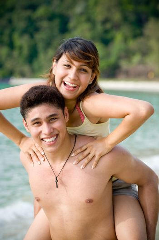 couple having fun at the tropical beach