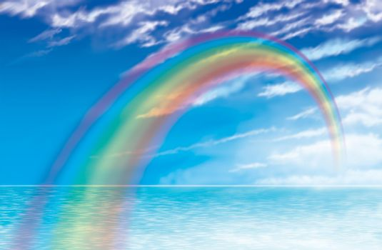 Rainbow illustration of coastal rainbow