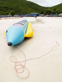 Banana boat on the beach