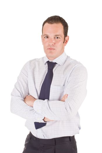 Young business man, with arms crossed. Isolated on white background.