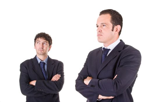 Two young businessmen, with arms crossed, isolated on white background.