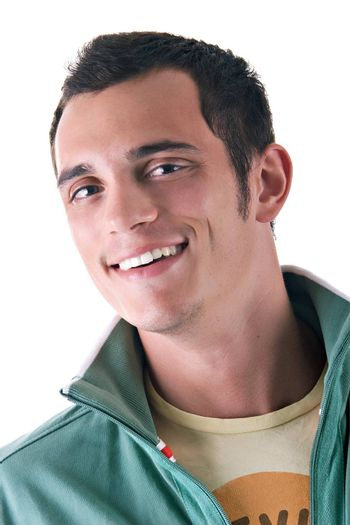 Portrait of a young man smiling, over white background.