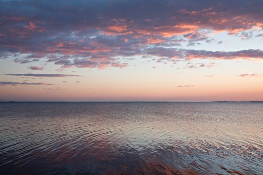 Photo of horizon over water surface at sunset.