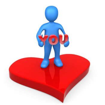 """3d person standing on a big red heart holding the word """"you""""."""