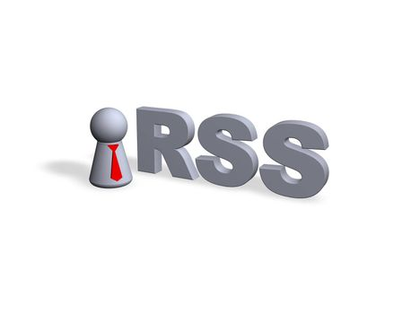 RSS text in 3d and play figure with red tie