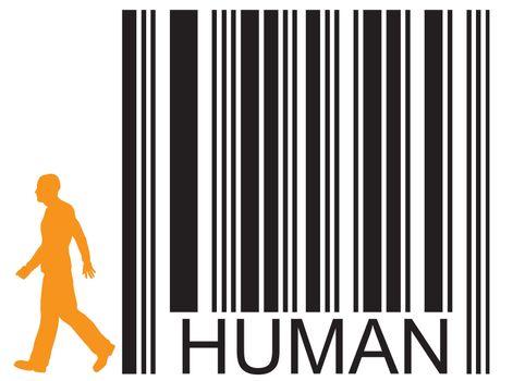 barcode human and walking man