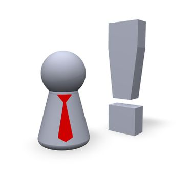 attention symbol in 3d and play figure with red tie