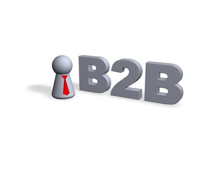 B2B text in 3d and play figure