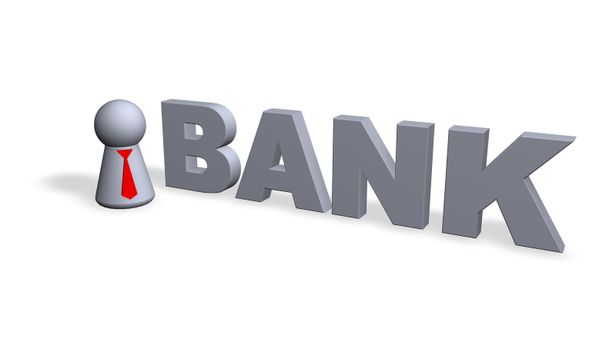 the word bank and play figure with red tie - 3d illustration