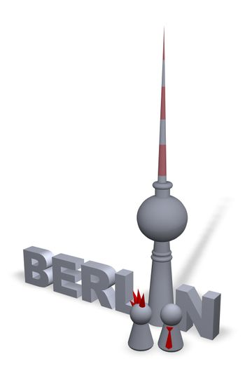 berlin text in 3d, the tv-tower and play figures punk and businessman