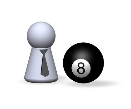 billiard - eightball and play figure with red tie