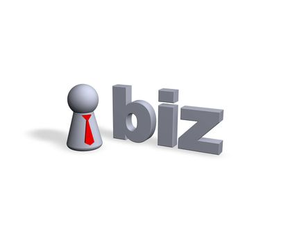 biz text in 3d and play figure with red tie