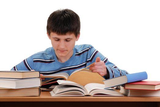 Teenager reading books isolated on white background