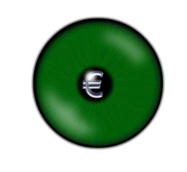 green eyeball with  euro symbol