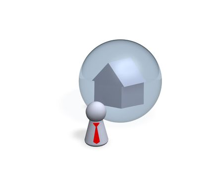 play figure with red tie and house dream
