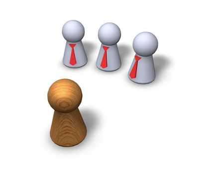 play figures - one wooden and three with red tie