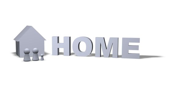 home text in 3d and play figures family with house
