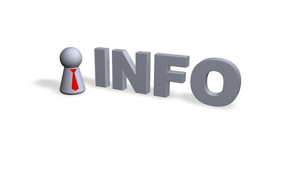 info text in 3d and play figure with red tie