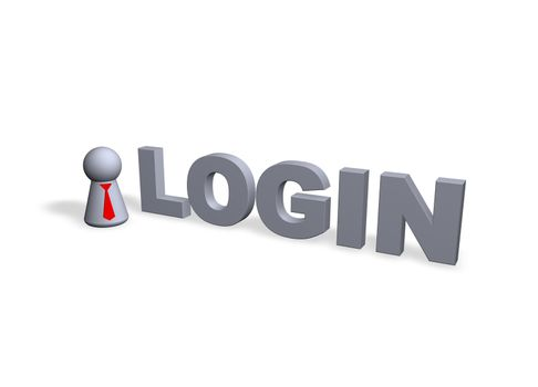 login text in 3d and play figure with red tie