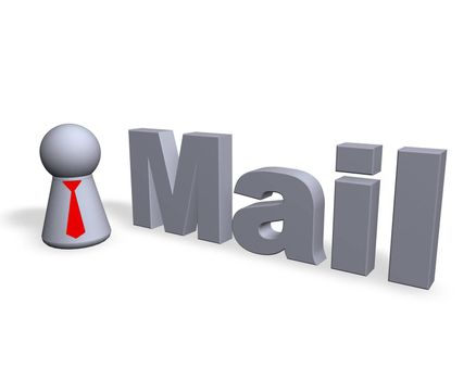 mail text in 3d and play figure with red tie