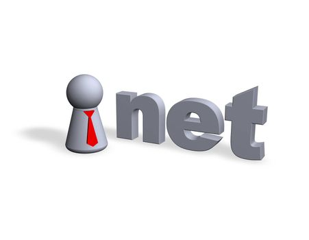 play figure with red tie and net text in 3d