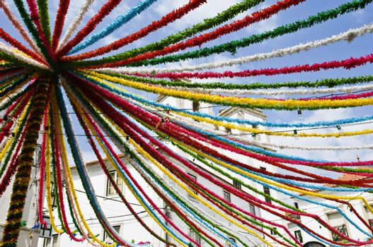 Decorated street during summer popular festivities in Alcacer do Sal, Alentejo, Portugal
