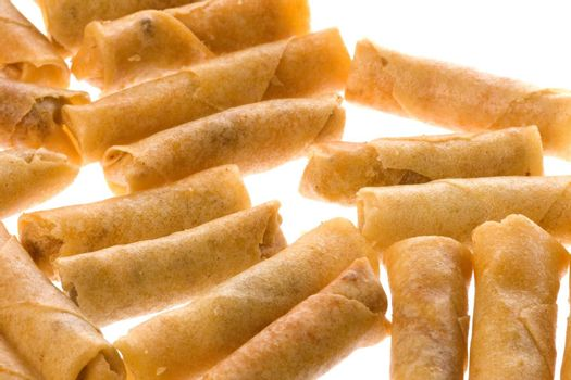 Isolated image of fried spring rolls.