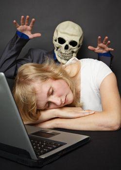 Nightmare visited slumbering young woman