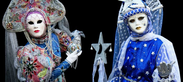 A man and a woman at the Venice Carnival