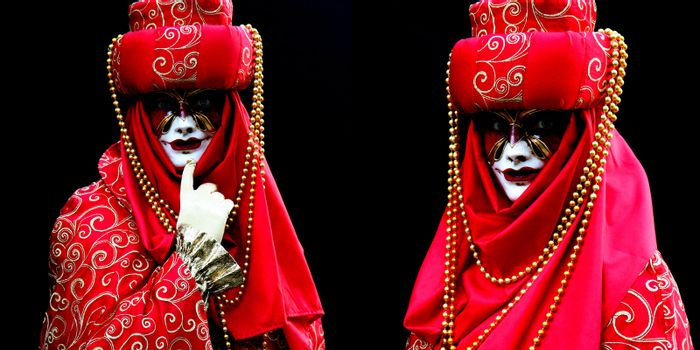 Two masked women at the Venice Carnival