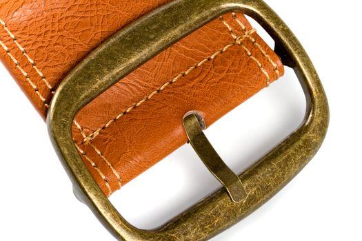 brown belt with bronze buckle