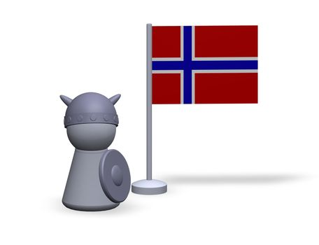 play figure viking and norway flag