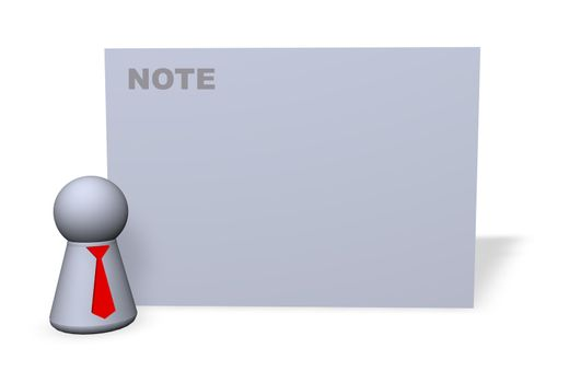 play figure with red tie and sign for notes